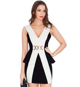 Formal Party Dress, Cheap Clubwear Dress, Fashion Black and White Office Dress, Hot Sale Sleeveless Dress, Lady Elegant Dress, Plus Size Dress, #N10857