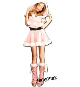 Fashion Pink Christmas Costume, Cheap Pink Front Zipper Short Christmas Tops, Comfortable Pink Christmas Outfit, #XT9804