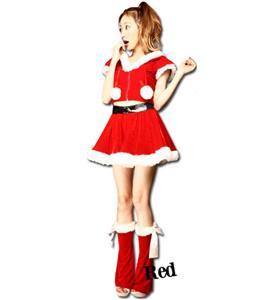 Fashion Sexy Red Zipper Christmas Costume XT9806