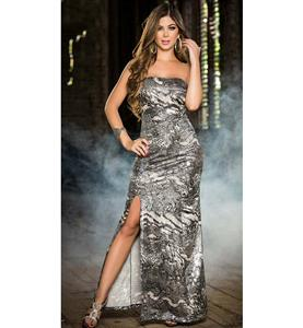 Fashion Sexy Snakeskin Strapless Long Gown N10681