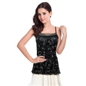 Fashion Black Tops, Sexy Sequins Beading Vest Tops, Cheap Spaghetti Straps Tops, Hot Sale Floral Beading Tops, #N10780