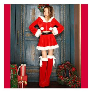 Fashion Red Christmas Pantskirt, Cheap Red Short Christmas Tops, Comfortable Red Christmas Outfit, #XT18360