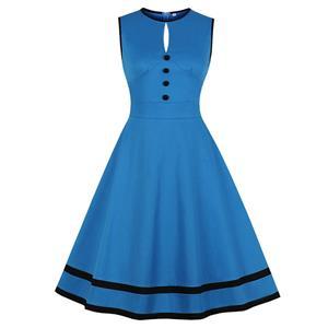 Sexy Blue Round Neck Sleeveless High Waist Contrast Color Summer Big Swing Dress N21348