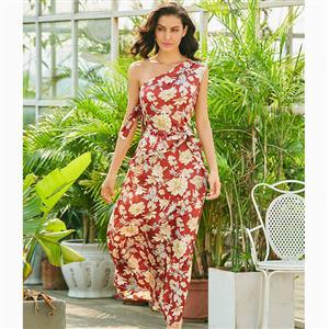 Sleeveless Dress, Oblique Collar Dress, Lace-up Dress, One Shoulder Dress, Floral Print Dress, Fashion Dress for Women, Elegant Dresses for Women, Maxi Dress, #N15558