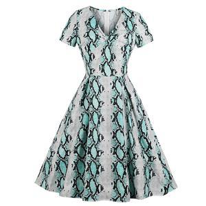 Fashion Snake Skin Print V Neck Short Sleeves High Waist A Line Swing Dress N18650