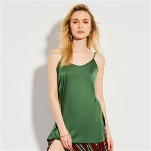 Fashion Spaghetti Straps Plain Green Tank Top N14931