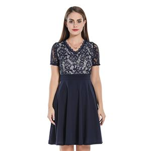 Fashion Floral Lace And Chiffon Spliced V Neck Short Sleeve High Waist Midi Dress N20064