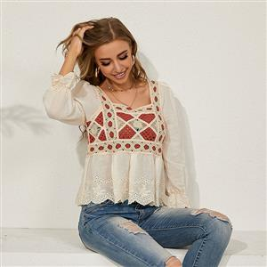 Embroidery Shirt Tops,Square Collar Casual Blouse,Casual Long Sleeve Top, Mid-length Blouses,Women Casual Blouse,Fashion Hollow out Shirt ,Spring Long Sleeve Fit Shirt , #N20928