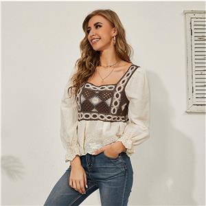 Embroidery Shirt Tops,Square Collar Casual Blouse,Casual Long Sleeve Top, Mid-length Blouses,Women Casual Blouse,Fashion Hollow out Shirt ,Spring Long Sleeve Fit Shirt , #N20929