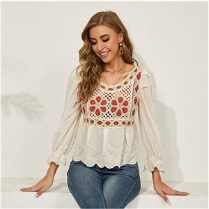 Embroidery Shirt Tops,Square Collar Casual Blouse,Casual Long Sleeve Top, Mid-length Blouses,Women Casual Blouse,Fashion Hollow out Shirt ,Spring Long Sleeve Fit Shirt , #N20931