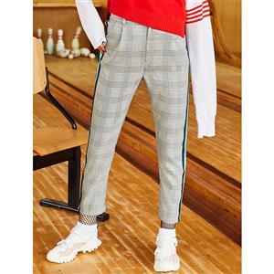 Stripe Plaid Pants, Elastic Pencil Pants, Full Length Pants, Pocket Pants for Women, Pencil Pants for Women, Slim Pencil Pants, Fashion Pencil Pants, #N15462
