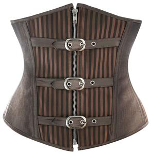 Fashion Striped Brown Steampunk Steel Bone Zipper Underbust Corset N9792