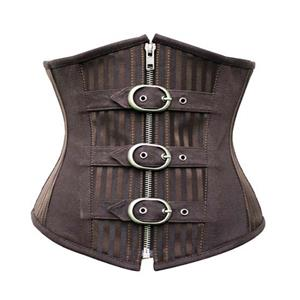 Fashion Striped Brown Steampunk Steel Bone Zipper Underbust Corset N9792