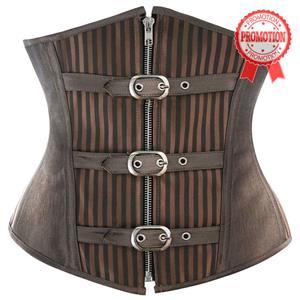 Brown Striped Underbust Corset, Fashion Steel Bone Underbust Corset, Cheap Steampunk Underbust Corset, #N9792