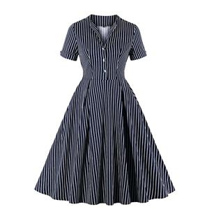 Sexy A-line Dress,Plus Size Spring Dress,Vintage Dresses for Women,High Waist Dresses for Women,Stand-up Collar Dress for Women, Daily Striped Dress,High Waist Midi Swing Dress, #N20945