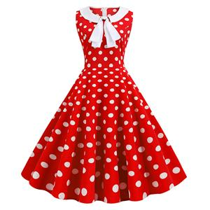 Sexy A-line Swing Dress, Retro  Polka Dots Print Dresses for Women, Vintage Dresses 1950