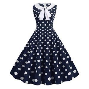 Fashion Turn-down Bowknot Collar Sleeveless Polka Dots Print Summer A-line Swing Dress N20316