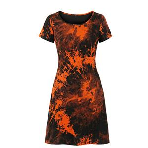 Fashion Dress for Women,Elegant Party Dress,Casual Midi Dress,Sexy Dresses for Women Cocktail Party,Short Sleeves High Waist Swing Dress,Tie-dye Gradient Printed Dress, #N20633