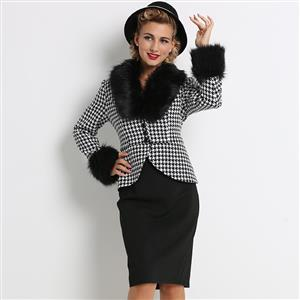 Two Pieces Dress Suit, Long Sleeve Faux Fur Coat, Houndstooth Print Coat, Black Suit Dress Sets, Fashion Bodycon Dress Suit, Black Midi Bodycon Dress, #N15805