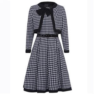 Two Pieces Dress Suit, Long Sleeve Printed Coat, Houndstooth Print Dress Suit, Sleeveless Round Neck Dress, Fashion Dress Suit for Women, Midi Printed A-Line Dress, #N15807