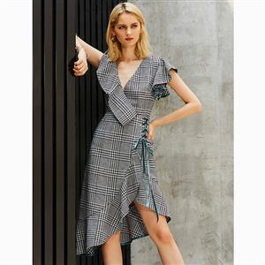 Short Sleeve Dress, V Neck Dress, Fashion Dresses for Women, Lace-up Dress, Asymmetric Dress, Houndstooth Dress, Asymmetric Falbala Dress, Fashion Midi Dress, #N15659