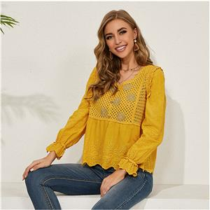 Embroidery Shirt Tops,V Neck Casual Blouse,Casual Long Sleeve Top, Mid-length Blouses,Women Casual Blouse,Fashion Hollow out Shirt ,Summer Long Sleeve Loose Shirt , #N20927
