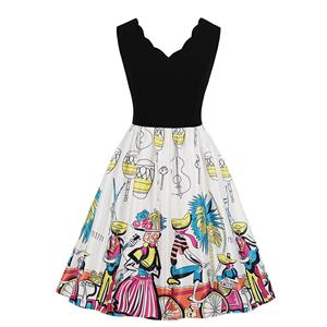 Cute Swing Dress, Retro Printed Dresses for Women 1960, Vintage Dresses 1950