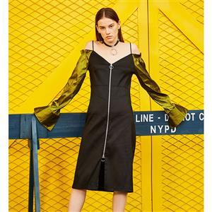 Long Sleeve Dress, V Neck Midi Dress, Fashion Black Dresses for Women, Front Zipper Midi Dress, Off Shoulder Spaghetti Strap Dress, Fashion Midi Dress, #N15680