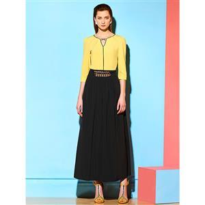 V Neck Maxi Dress, 3/4 Length Sleeve Maxi Dress, Casual Maxi Dress, Maxi Dresses for Women Casual, Patchwork Maxi Dress, #N14962