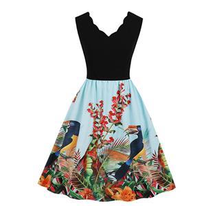 Fashion V Neck Rainforest Parrot Print Sleeveless High Waist Party Swing Dress N18710
