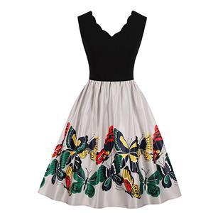 Fashion V Neck Butterfly Print Sleeveless High Waist Party Swing Dress N18707