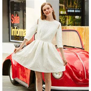 Three-quarter Sleeve Dress, Round Neck Midi Dress, Fashion White Dresses for Women, Knee-length White Dress, Pleated Casual Day Dress, Fashion Midi Dress White, #N16025