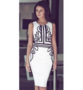 White Pencil Dress, Fashion White Dress, Women