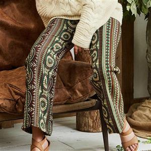 Fashion High Waist Pants for Women, Full Length Print Wide Leg Pants, Retro Geometric Print Wide Leg Pants, Women