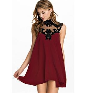 Fashion Wine Red Dress, Spring and Summer Dress, Lady Casual Dress, Lady Dress Cheap on sale, Flowers Trim Dress, #N10127
