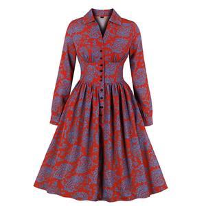 Sexy A-line Dress,Plus Size Spring Dress,Vintage Dresses for Women,High Waist Dresses for Women,Lapel Dress for Women, Daily Waist Button Dress, Fashion Women Long Sleeve Dress, #N19932