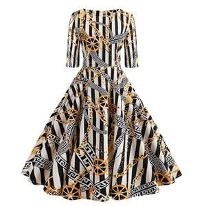 Sexy A-line Swing Dress, Fashion Dresses for Women, Cocktail Party Dress, Fashion Half-Sleeve Swing Dresses, A-line Casul Dresses, Round Neck High Waist Dress, Printed A-Line Dress, #N20321