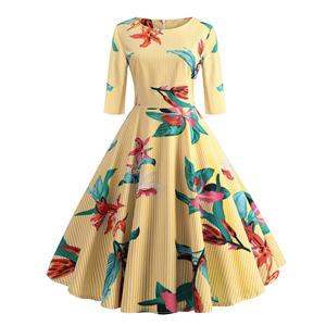 Sexy A-line Swing Dress, Fashion Dresses for Women, Cocktail Party Dress, Fashion Half-Sleeve Swing Dresses, A-line Casul Dresses, Round Neck High Waist Dress, Printed A-Line Dress, #N20322