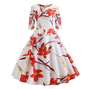 Sexy A-line Swing Dress, Fashion Dresses for Women, Cocktail Party Dress, Fashion Half-Sleeve Swing Dresses, A-line Casul Dresses, Round Neck High Waist Dress, Printed A-Line Dress, #N20323