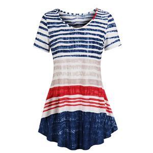 Short Sleeve,Round Neck Casual Tops,Multicolor top,Women