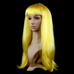 Fashion Yellow Long Straight Wig, Yellow Straight Bangs Long Wig, Sexy Masquerade Straight Hair Wig, Fashion Party Long Straight Wig, Long Straight Hair Cosplay Wig, #MS16114