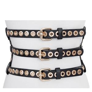 Punk Waist Belt, Metal Waist Belt, Vintage Waist Belt, Elastic Waist Belt, Waist Belt for Women, Wide Cinch Belt, Black Girdle, #N15390