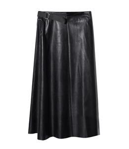 Faux Leather Skirt, Midi Flare Skirt, Black Skirt for Women, Mid Claf Skirt, Casual Skirt, Swing Skater Skirt, Business Skirt, #N13065