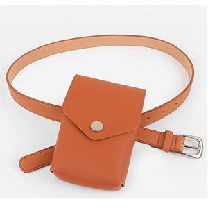 Fashion Waist Belt, Waist Belt with Pouch, Waist Pouch Fashion Belt Bags, Waist Belt for Women, Waist Belt with Mini Purse, Casual Travel Waist Belt, Brown Girdle for Women, #N18204