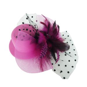 Pink Mini Top Hat, Feather Clip Veil Mesh Net Mini Top Hat, Cocktall party top hat, #J7340