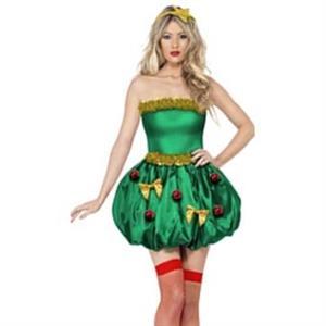 Green Christmas Dress, Sexy Green Christmas Costume, Comfortable Sleeveless Velvet Dress, Fancy Dress,   #XT9884