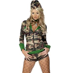 Sexy Army Military Playsuit War Costume, Women