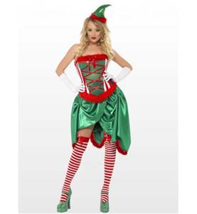 Green Christmas Dress, Fever Elf Costume,Comfortable Sleeveless Velvet Dress, Fancy Dress,Burlesque Costume, #XT9885