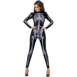 Fever Skeleton Catsuit Costume N9070