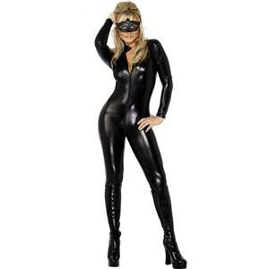 Black Vinyl Leather Lingerie, Sexy Solid Front Zipper Jumpsuit, Black Metallic Bodysuit, #N8382
